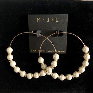 Kenneth Jay Lane Pearl & Gold Earrings